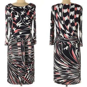 Emilio Pucci Shift Dress Black Pink White Size 42